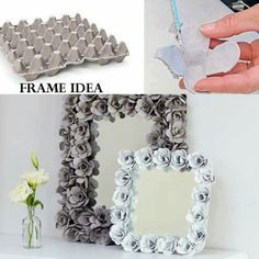 Egg Carton picture frames. Upcycling & recycling