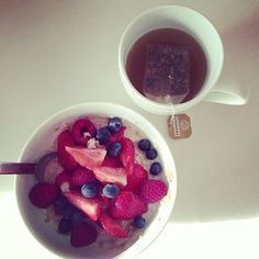 This is my breakfast every morning with a side of eggs (protein). Oatmeal, fresh fruit, tea.