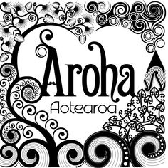 'Aroha Aotearoa' by clrgraphics Maori Designs, Nz Art, Kiwiana, Sunscreen, New Zealand, Coloring Pages, Stencils, Cricut, Packaging