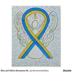 Down's Syndrome Blue and Yellow Awareness Ribbon Angel Poster