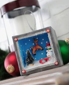 DIY Christmas shadowbox ornament with miniatures