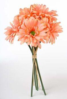 Coral Gerber Daisy Wedding Bouquets | Peach Coral Daisy Wedding Bridal Bouquet