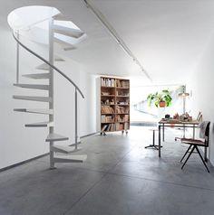 minimalist interior w/ spiral staircase