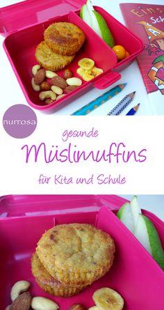 Healthy muesli muffins for kindergarten and school - Rezepte - Healty Snacks Muesli, Easy Cupcake Recipes, Baby Food Recipes, Vegan Snacks, Healthy Snacks, Healthy Muffins, Healthy Recipes, Kind Snacks, Healthy Kids