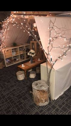 Reading area in toddler and preschool. Love the stump seats We are want to .Reading area in