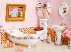 4pcs Fresh Elegant Small Flower Bathroom Pottery Set Dollhouse Miniature Mini Furniture in 1/12 Scale | Wholeport.com