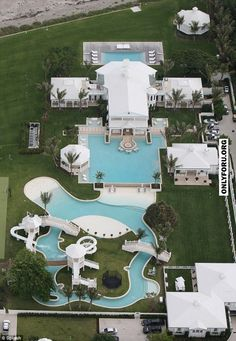 """Now this is a pool! This """"water park"""" was designed by Celine Dion for her Florida home and it's pretty impressive. Florida Mansion, Florida Home, Dream Pools, Celebrity Houses, Celebrity Mansions, House Goals, Pool Designs, Bed Designs, My Dream Home"""
