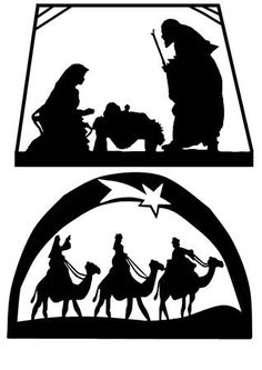Robo Nativity Silhouettes on Craftsuprint designed by Joanna Swinton - 3 lovely designs for Christmas. One is Mary, Joseph and baby Jesus and the other of the 3 wise men. Great designs for your cards and don't forget that each has a negative and possitive. - Now available for download!