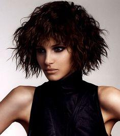 A medium brown straight messy choppy shaggy coloured Womens hairstyle by Lisa Shepherd
