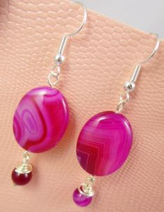 A personal favorite from my Etsy shop https://www.etsy.com/listing/228386735/pink-agate-earrings by Javea Jewel Design