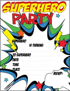 FREE printable Superhero Party Invitations Just Click and Printhttp://partydarwin.com.au/party-ideas/kids-party-ideas/kids-party-themes-2/super-hero-party/