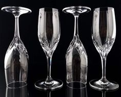 Set of six cut lead crystal champagne flutes. The glasses can also be used for serving cocktails, prosecco or sparkling wine.  Each glass is handmade: mouth-blown and hand-polished. The glasses are heavy, as they are made of thick lead crystal. Amazing quality!  Manufactured in West Germany by NACHTMANN. Height: 165 mm (6.50) Diameter at the top: 43 mm (1.69)  Weight (4 glasses): 630 g (1.39 lb)  In very good vintage condition - no chips or cracks. Please take a moment to analyze the…