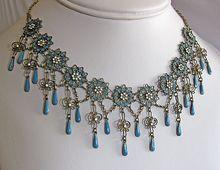 Antique Sterling Silver Enamel Norway Solje Festoon Necklace