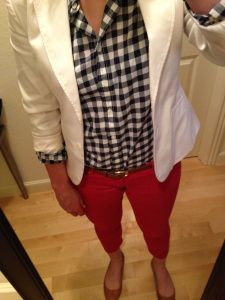 Red Jeans, Navy Gingham Shirt, White Blazer