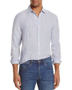 The Men's Store at Bloomingdale's Linen Jacquard Stripe Regular Fit Button-Down Shirt