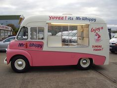 Mr. Whippy - sells soft serve icecream, Mr Whippy van travels around the streets, people come out and buy icecream from their houses.