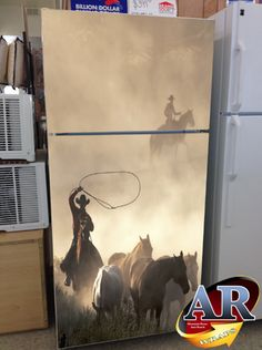 Cowboy refrigerator wrap.  This may be taking the western theme a little too far...!