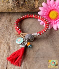 Friendship lucky leather bracelet in Red by DazzlingGypsyQueen, €27.95