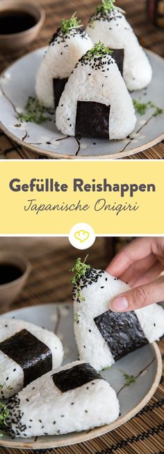Schluss mit Pausenbrot! Onigiri heißt der japanische Snack aus Sushireis, den du ganz wie's dir schmeckt füllen und als kleinen Lunch mitnehmen kannst.