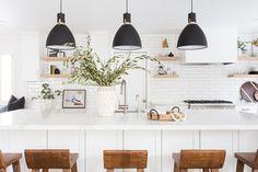 Oak Hills Kitchen Remodel: Modern white kitchen with subway tile + statement lighting by Lindsey Brooke Design Subway Tile Kitchen, Granite Kitchen, Kitchen Backsplash, Diy Kitchen, Kitchen Design, Kitchen Reno, Kitchen Remodeling, Kitchen Interior, Mason Jars
