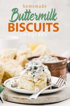 Homemade Buttermilk Biscuits Recipe and Country Sausage Gravy - These delicious buttermilk biscuits are tender, and flaky and down right amazing! They are topped off with a traditional Southern country sausage gravy! #biscuits #gravy #buttermilkbiscuits #breakfast