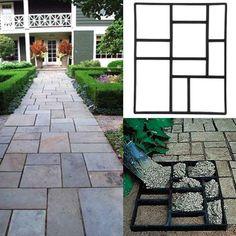 Generous Path Maker Mold Reusable Concrete Cement Stone Design Paver Walk Mould Diy Reusable Concrete Brick Mold For Lawn Garden Patio Garden Supplies Garden Buildings