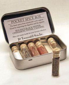 Pocket Spice Box -- cool idea for traveling--spices in a mint tin! Creative Arts And Crafts, Crafts To Do, Crafts For Kids, Camping Hacks, Camping Recipes, Mint Tins, Small Tins, Altered Tins, Altoids Tins