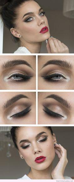 Linda Hallberg brown eye makeup and red lips