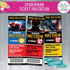 Spiderman theme TICKET style birthday invitation - Made to Order by JustForYouByJenny on Etsy Custom Party Invitations, Ticket Invitation, Birthday Party Invitations, Birthday Party Themes, Spiderman Theme, Messages, Etsy, Style, Swag