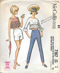 McCalls 7167 1960s Rockabilly Ruffled Top, Pants and Shorts Vintage Sewing Pattern, by GrandmaMadeWithLove