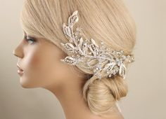 *Gorgeous Bridal silver rhinestone hair piece, wedding silver hair piece Every single pearl is wired by hand. It is perfect accessory for bride, bridesmaids or lots of special days.   *Color - Silver - Silver ivory  *Materials -Silver ivory -Rhinestones -Crystal beads -Hair clip  **each of my creations is made of high quality materials with lots of love.  ★ Please read my Shop Policies and Shipping guide carefully. https://www.etsy.com/au/shop/GadaByGrace/policy...