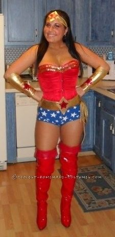 Homemade Wonder Woman Costume... This website is the Pinterest of costumes