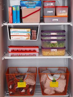 ALL of these are awesome ideas! Affordable Kitchen Storage Ideas You don't have to shell out the big bucks to get a beautifully organized kitchen. These affordable storage solutions let you keep your cash while making your own kitchen storage-rich. Freezer Organization, Freezer Storage, Garage Storage, Kitchen Organization, Organization Hacks, Kitchen Storage, Food Storage, Kitchen Organizers, Storage Ideas
