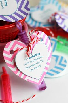 Easy to make Valentine's Day bubble favors for classrooms.