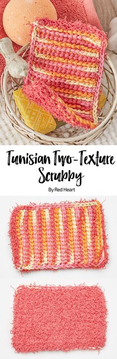 Tunisian Two-Texture Scrubby free crochet pattern in Scrubby Cotton and Scrubby Smoothie yarn. Dual sided-dishcloth in 100% cotton. #CrochetDishcloth #CrochetCloth #cottonyarn
