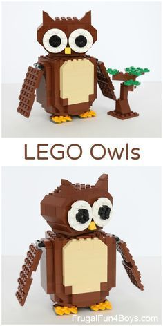 LEGO Owl Building Instructions - The owl turns his head all the way around when you turn a knob on his back. Fun engineering challenge for kids. Lego Club, Lego Design, Lego Duplo, Lego Ninjago, Lego Hacks, Modele Lego, Construction Lego, Lego Challenge, Lego Craft