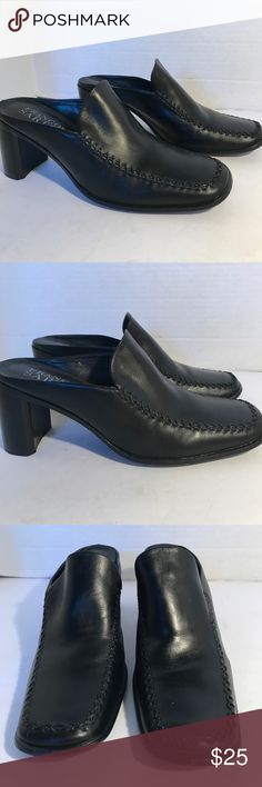 """Franco Sarto Brazil Beautiful Leather Shoes Absolutely beautiful leather shoes in excellent condition. Only worn once in fashion show. Great cross cross Details.  2"""" heels . YOU CAN CHOOSE TO PURCHASE ONLY 1 ITEM, BUT YOU CAN ONLY PURCHASE UP TO 3 ITEMS PER ORDER. OR YOUR ORDER WILL BE CANCELLED. Franco Sarto Shoes Mules & Clogs"""
