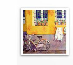 Bicycle Watercolor Paintings Print  Painting by WatercolorByMuren, $30.00