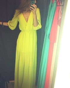 Get this dress on @Wheretoget or see more #dress #yellow #neon #wrap #maxi #sheer #three_quarter_sleeve