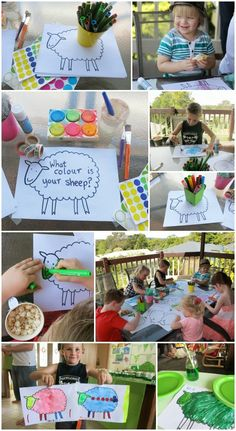 """Free printable """"Where is the Green Sheep? Use to make and decorate your own sheep after reading the book. Art Activities For Kids, Color Activities, Preschool Activities, Crafts For Kids, Fox Crafts, Sheep Crafts, Mem Fox Books, Sheep Template, Children's Book Characters"""