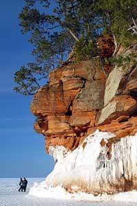 Lake Superior's South Shore / along Hwy 13 from Superior east to Ashland holds one of the Great Lake's seasonal secrets—the vaunted sea caves of the Apostle Islands National Lakeshore. If the ice is unsafe, mainland caves can be viewed by hiking or snowshoeing the cliff-top Lakeshore Trail at Meyers Beach.
