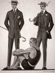 1913 - Men suit and swim suit
