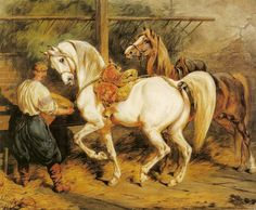 "Juliusz Kossak  ""In a Stable"", 1866, watercolour, 45,5 x 39 cm, National Museum, Warsaw"