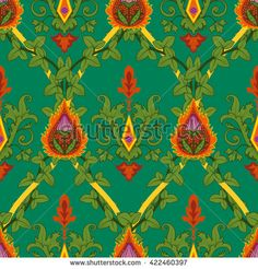 Vintage variegated seamless pattern ivy and fire flower