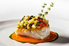 Roasted Hake Marinated Vegetables, and Aromatic Tomato Sauce by Jean-Georges Fish Recipes, Seafood Recipes, Gourmet Recipes, Cooking Recipes, Gourmet Desserts, Plated Desserts, Food Design, Marinated Vegetables, Pastries