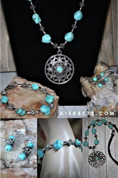 Make a statement in turquoise! This beautiful turquoise necklace looks stunning and it is comfortable to wear. Also available are the matching earrings and bracelet. Dog Jewelry, Dainty Jewelry, Women Jewelry, Handmade Jewelry, Fashion Jewelry, Jewelry Design, Unique Jewelry, Gemstone Jewelry, Jewelry Gifts