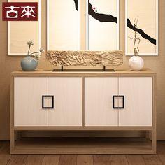 古来新中式实木客厅 矮柜 储物柜原木色装饰柜收纳柜简约餐边柜子-淘宝网