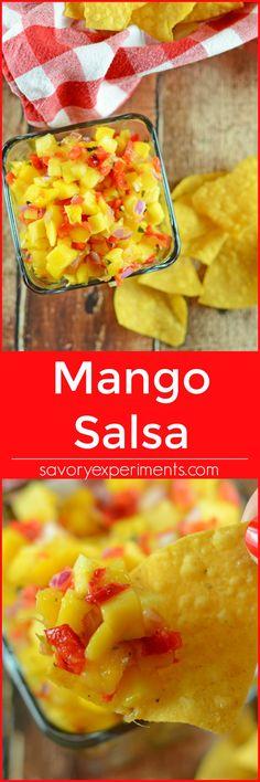 Easy Mango Salsa Recipe - Fresh mango salsa recipe, perfect for tacos, potlucks and more! www.savoryexperiments.com