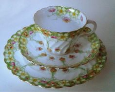 Aynsley Antique English China Tea Cup Saucer Plate Trio Pattern 13886 #Teacupsaucerteaplate