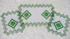 Vintage servilletas de lino bordado de Hardanger
